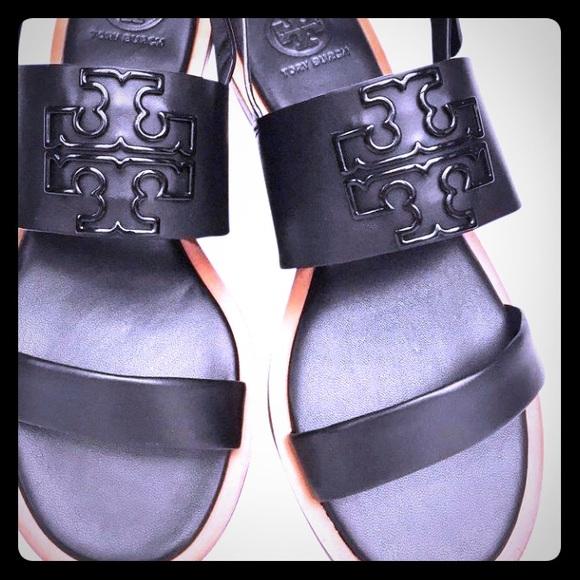 ae0c5bdac Tory Burch Melinda Flat Black Leather Sandals 5.5